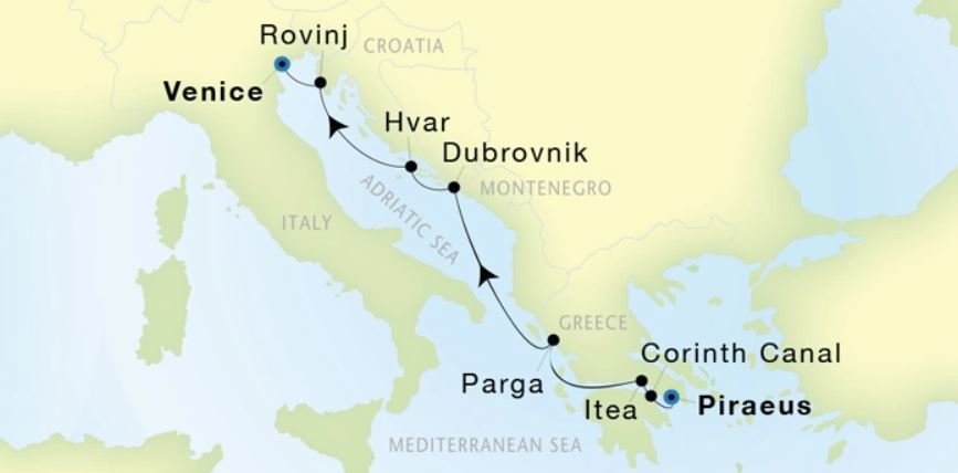 Map for Luxury Mediterranean: From Athens to Venice