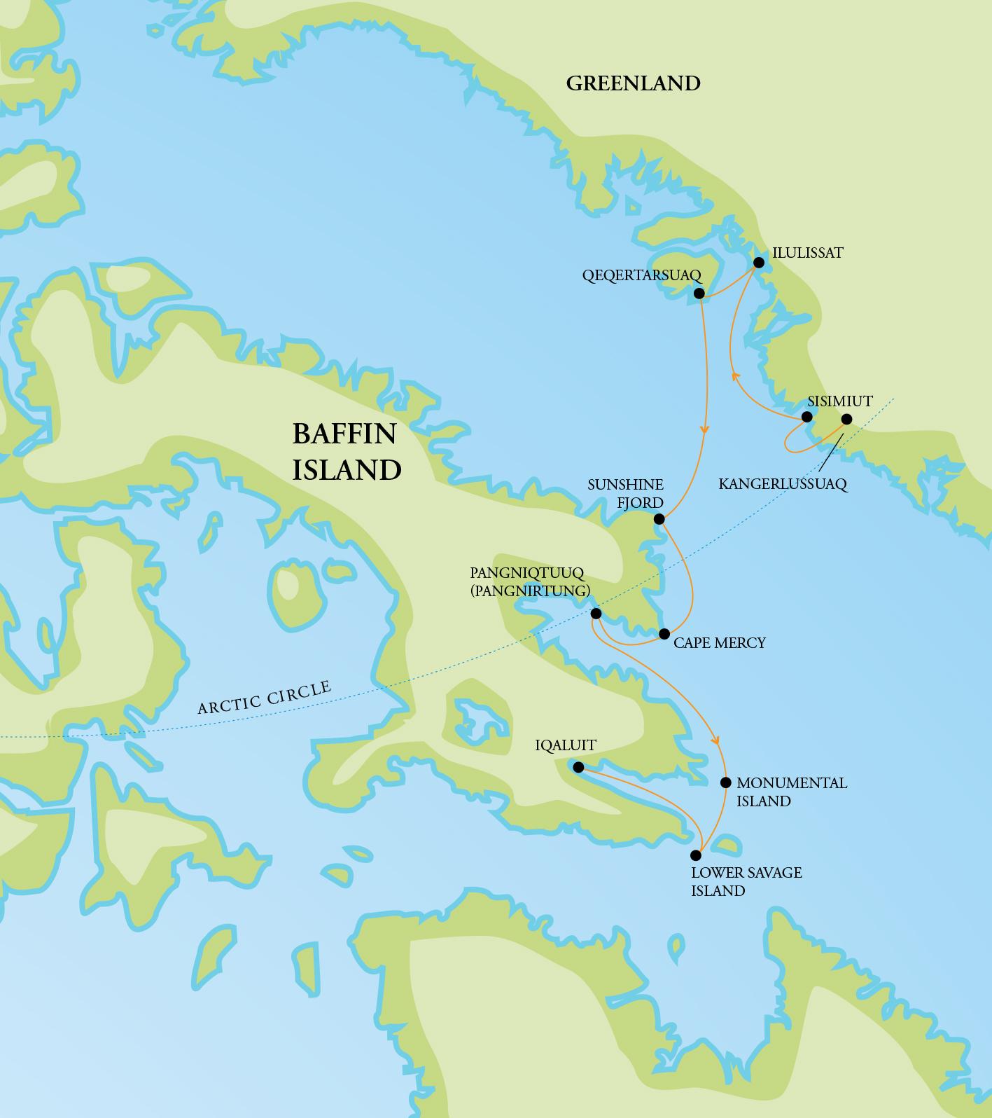Map for Baffin Island & Greenland Explorer (RCGS Resolute)