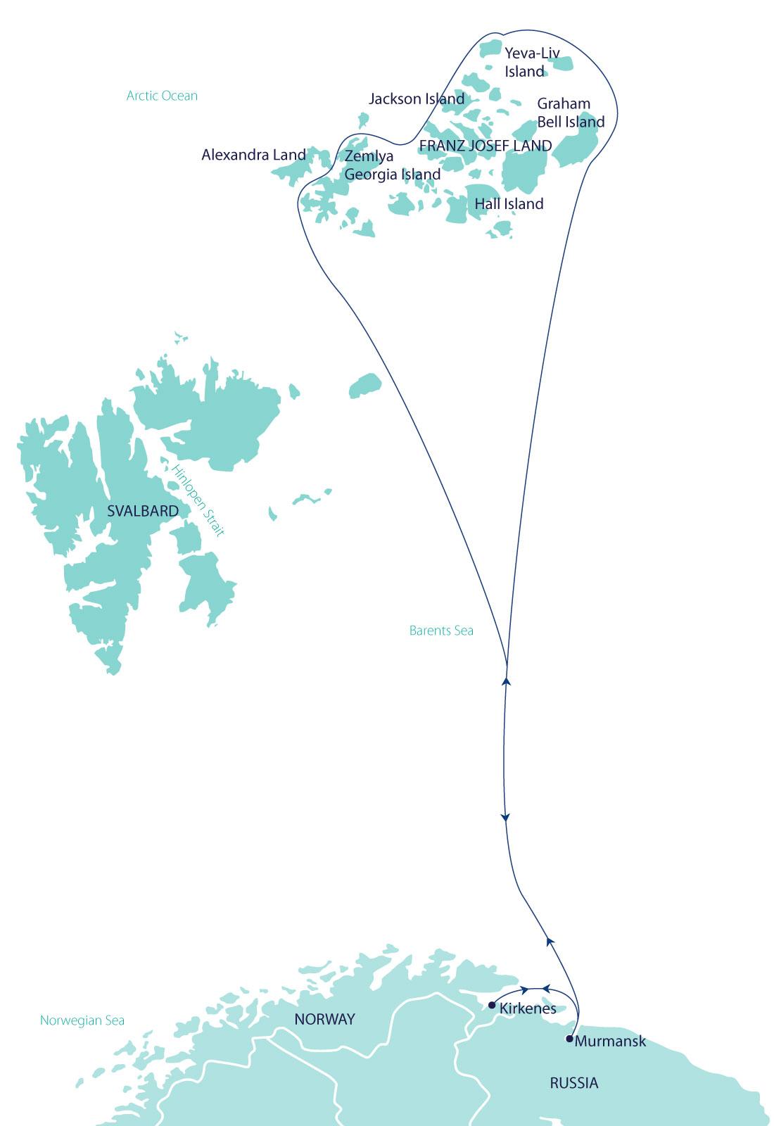 Map for Franz Josef Land Explorer (Greg Mortimer)