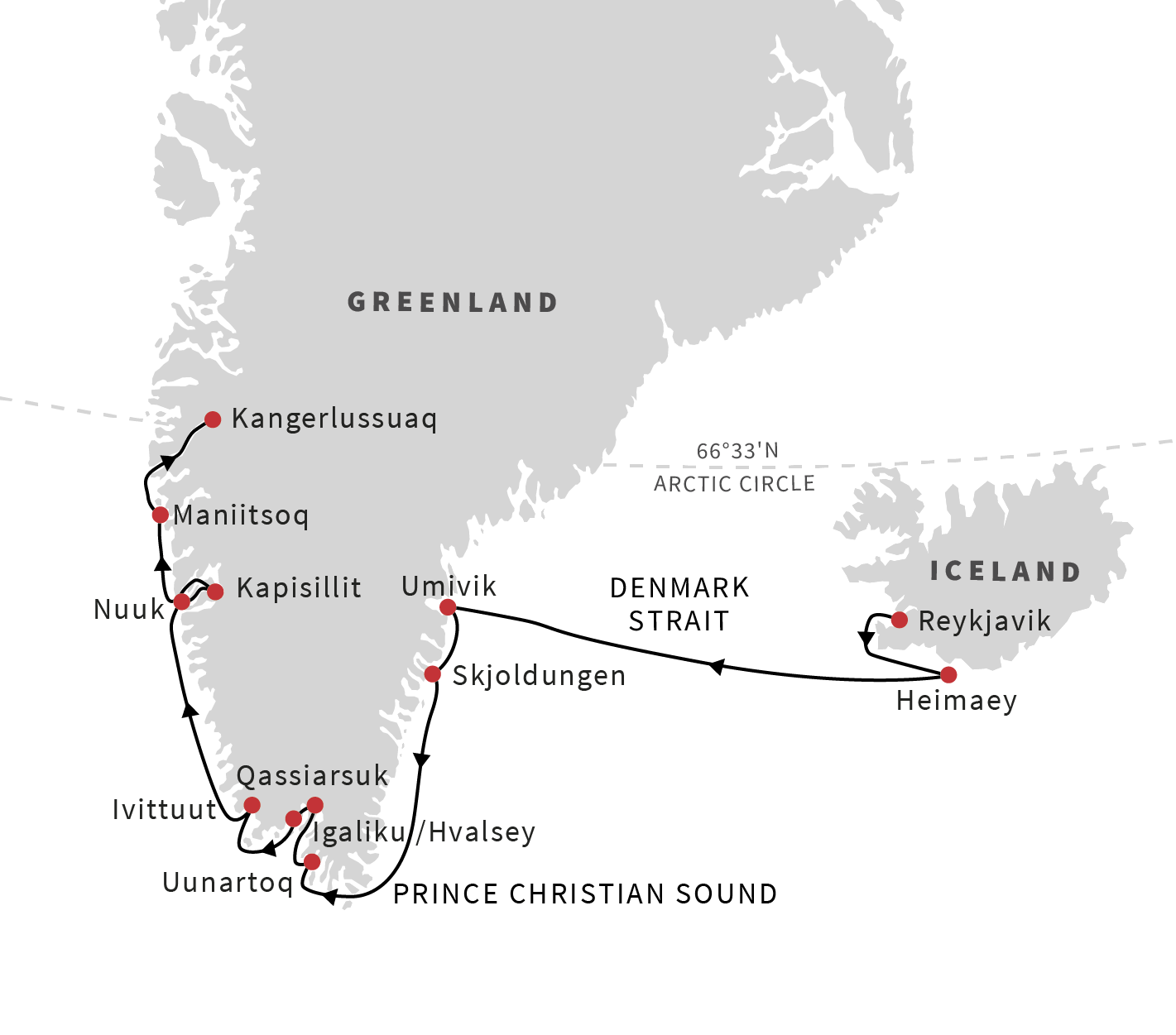 Map for Iceland and Greenland - The Viking Heritage
