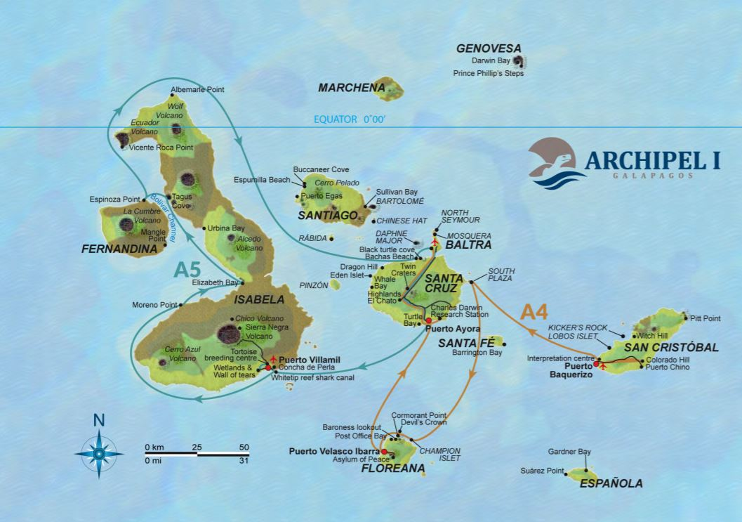 Map for Galapagos 8 Day Cruise Itinerary A (Archipel I)