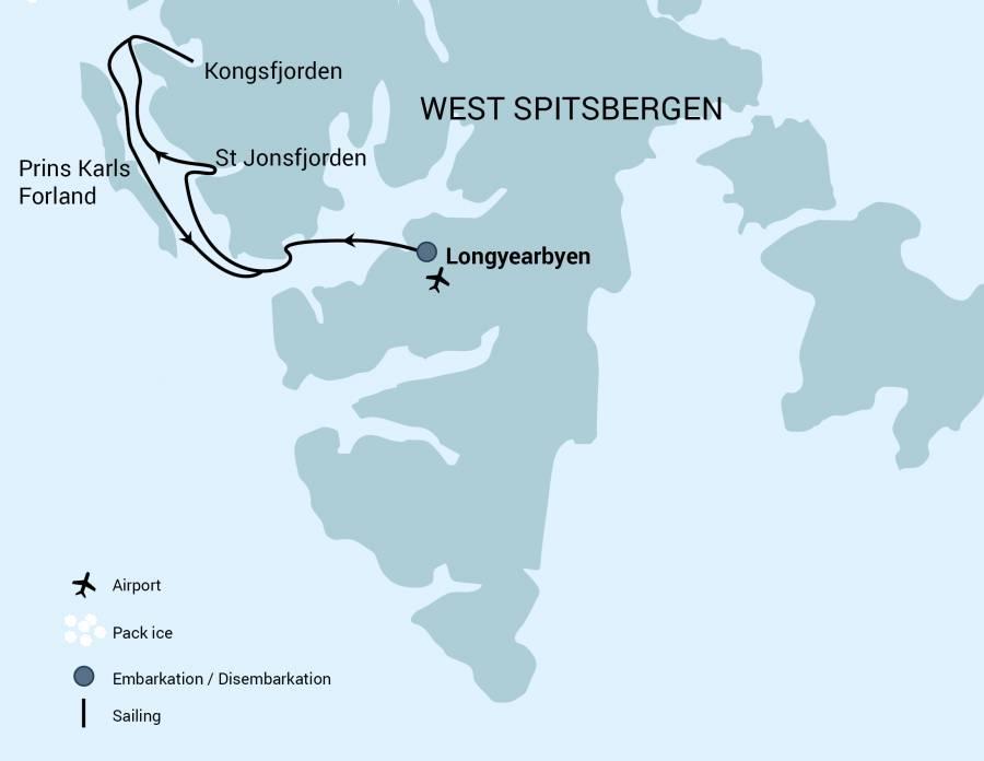 Map for Alpine Peaks of Spitsbergen, Ski & Sail