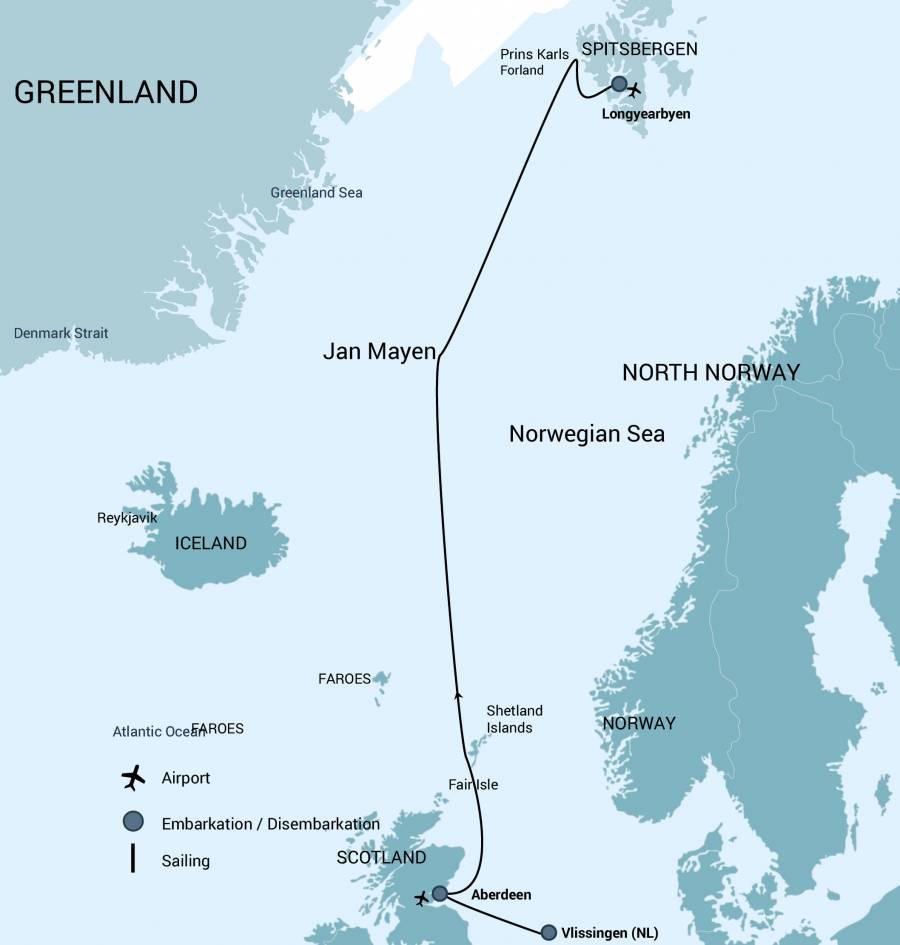 Map for Fair Isle-Jan Mayen-Spitsbergen, Whale Safari