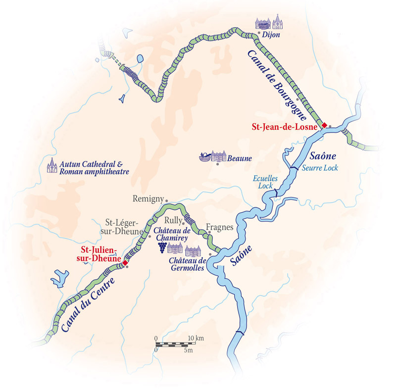Map for Southern Burgundy Cruise (Finesse)