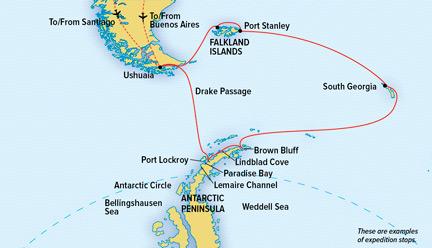 Map for Antarctica & South Georgia Cruise (NG Explorer)