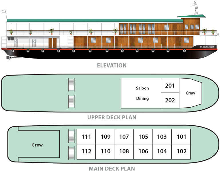 Cabin layout for Champa Pandaw