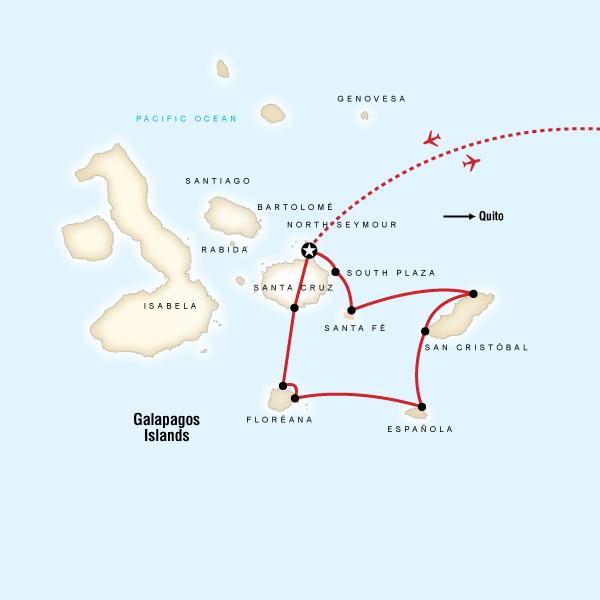 Map for Galápagos — 10 Days South & East Islands (Monserrat)