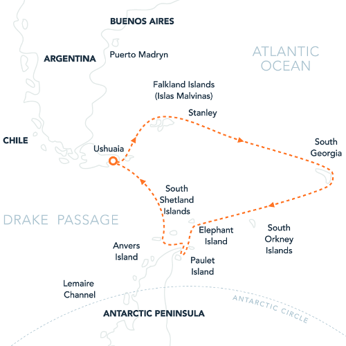 Map for Falklands, South Georgia & Antarctica Via Ushuaia