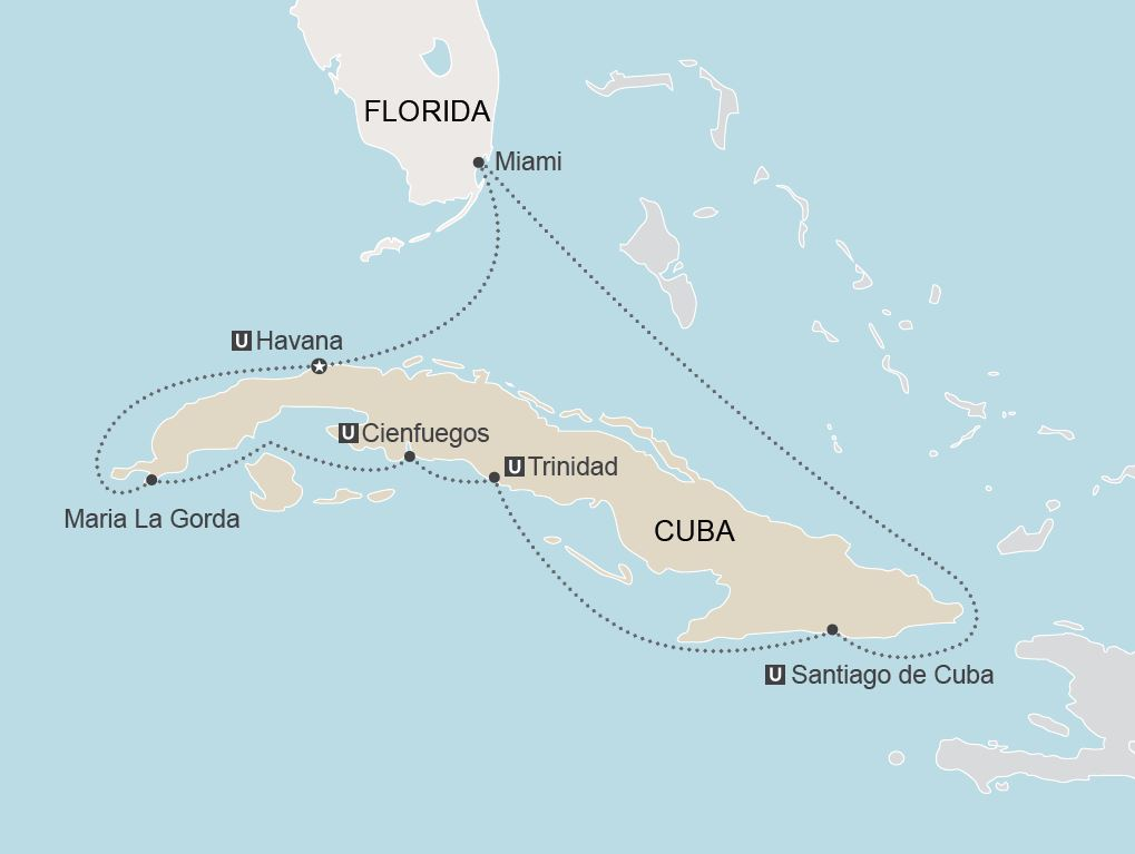 Map for Cuba 360 Cruise u2013 Two