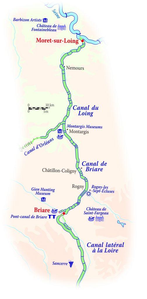 Map for Upper Loire & Burgundy Cruise (La Nouvelle Etoile)