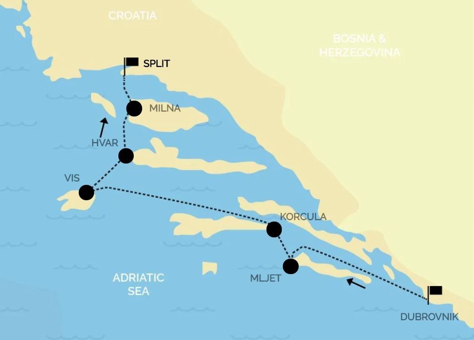Map for Croatia Luxury Cruise: from Dubrovnik to Split