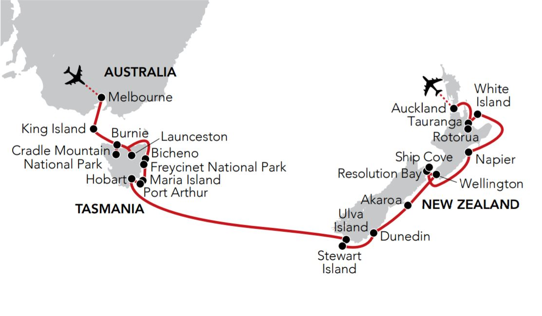 Map for Wilderness & Wonders of Tasmania & New Zealand