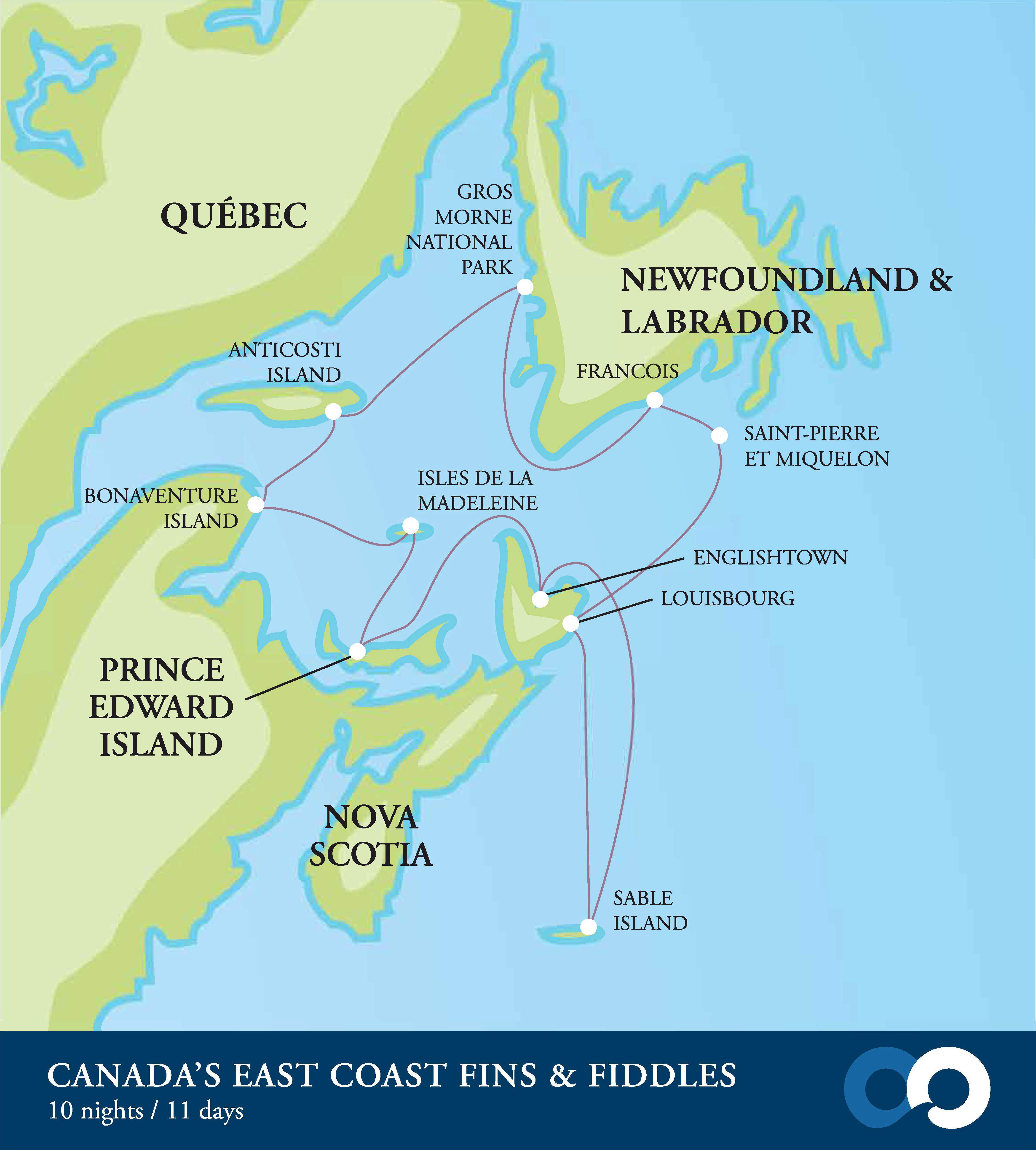 Map for Canadian Maritimes – Fins and Fiddles