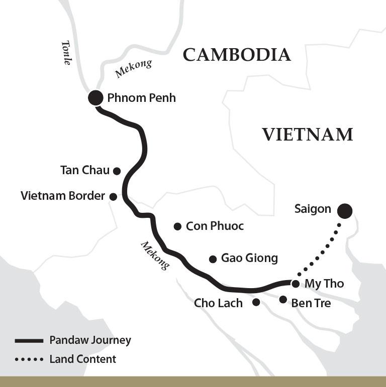 Map for Saigon & Phnom Penh (Downstream)