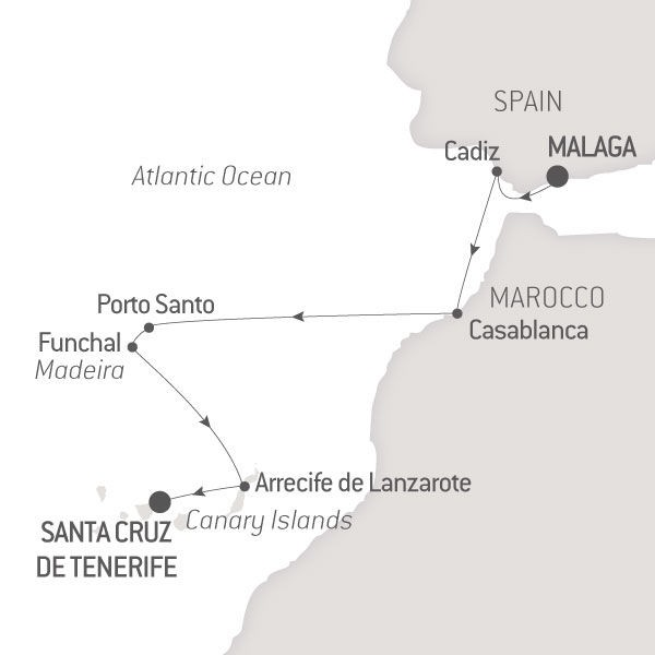 Map for Andalousia, Madeira & Canary Islands