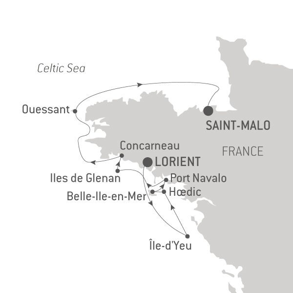 Map for Anniversary Cruise in Brittany