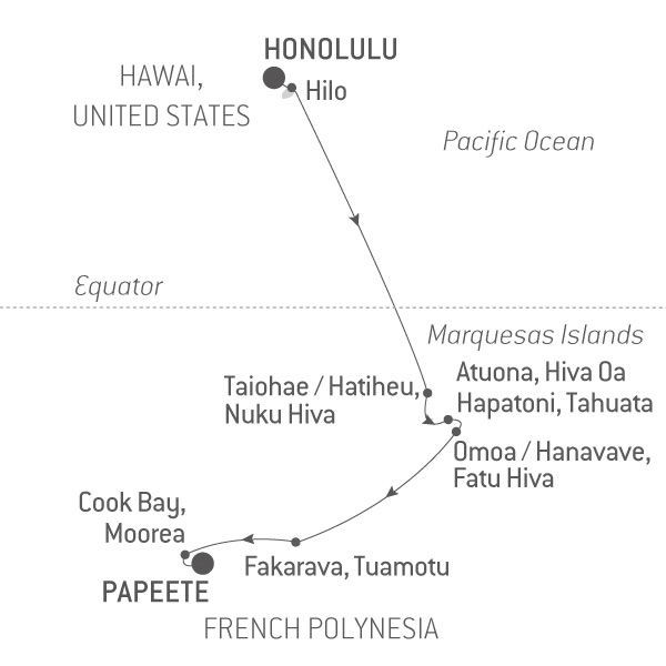 Map for The Most Beautiful Islands in the Pacific