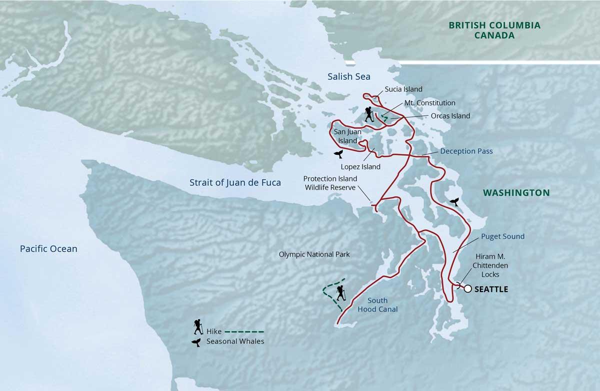 Map for Explore! Olympic Wilderness & San Juan Islands