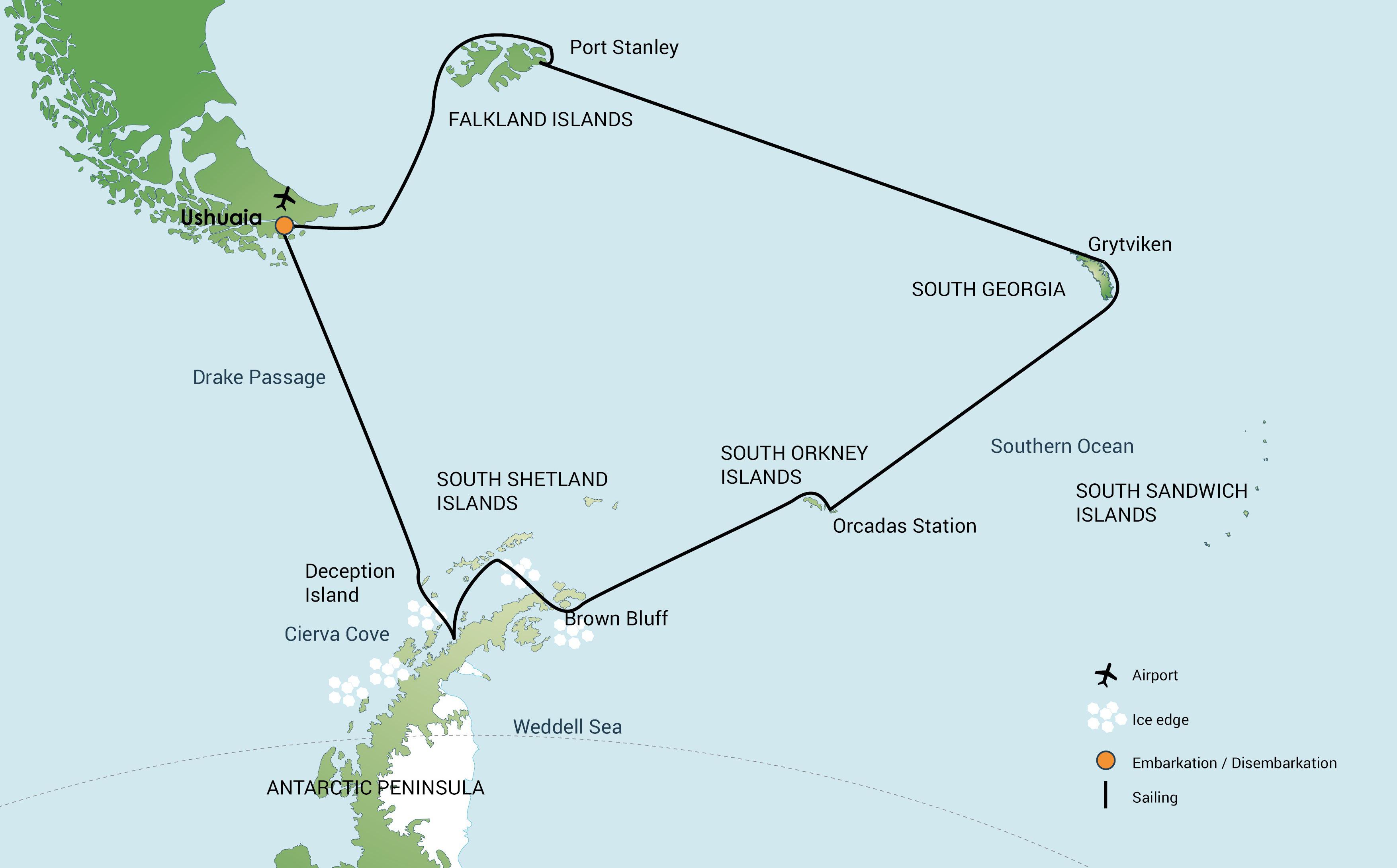 Map for Falklands, South Georgia and Antarctica (Plancius)