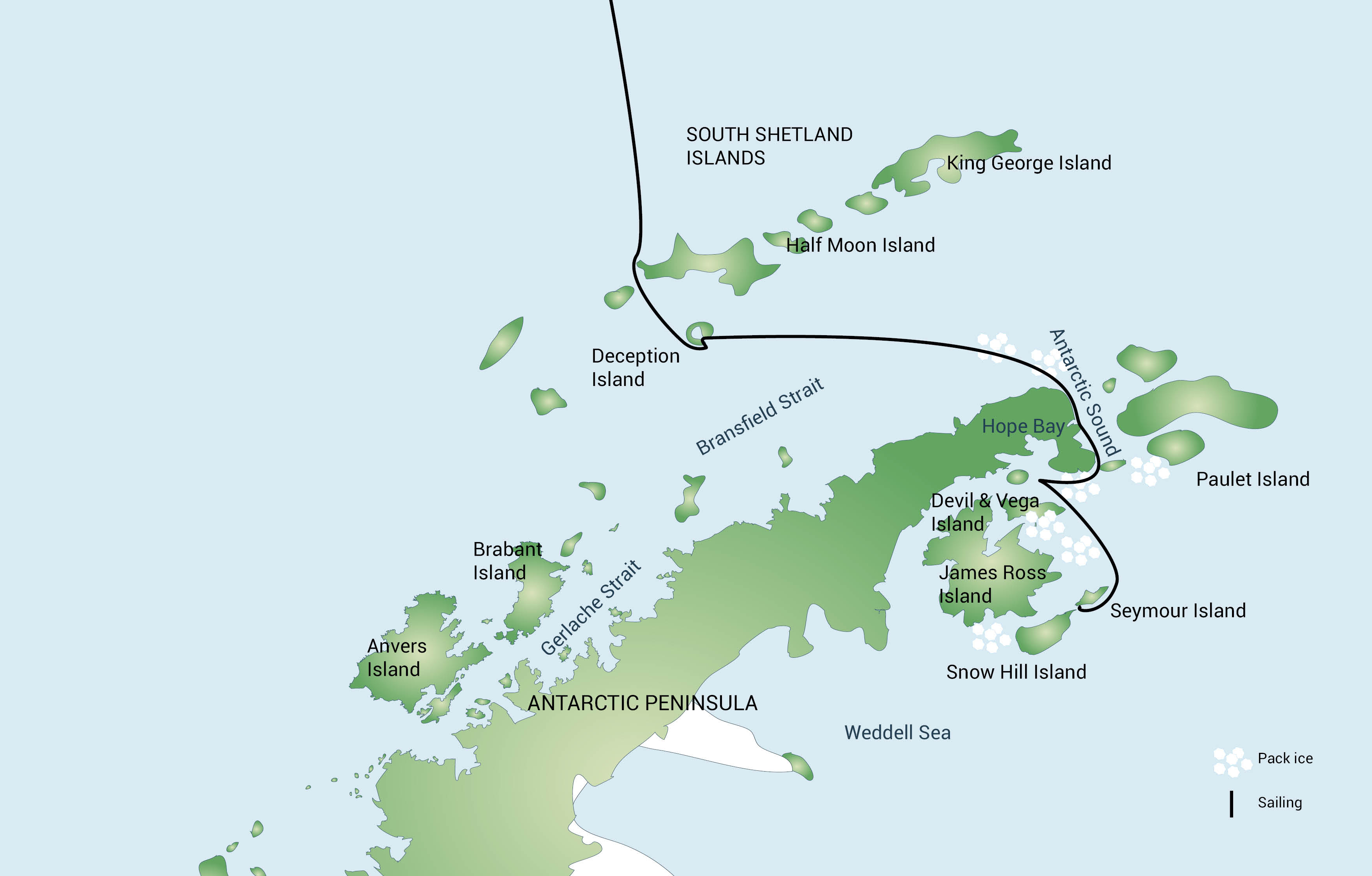 Map for Emperor Penguin Voyage incl. Helicopters