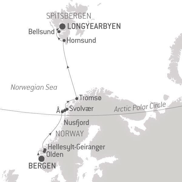 Map for Fjords & Spitsbergen
