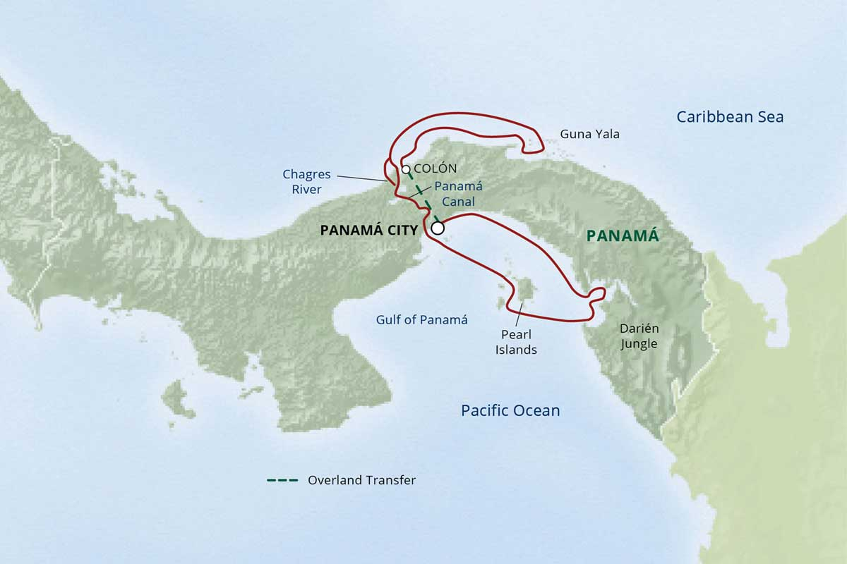 Map for Pure Panamá: Cultures, Coasts & Canal