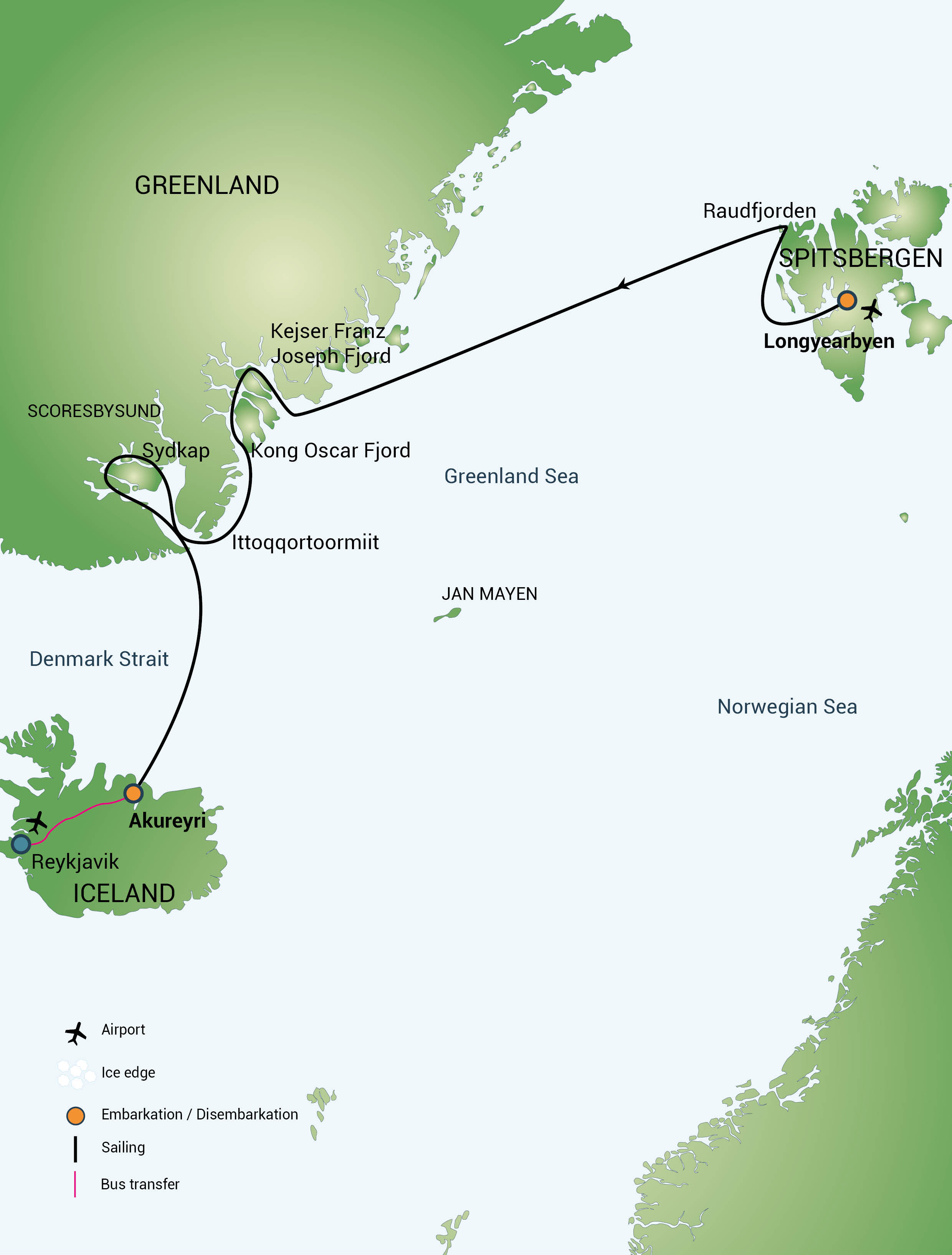 Map for Spitsbergen - Northeast Greenland, Aurora Borealis
