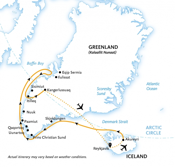 Map for Greenland Explorer: Valleys and Fjords