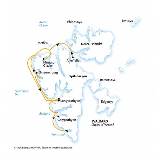 Map for Intro to Spitsbergen: Fjords, Glaciers & Wildlife (Ocean Nova)