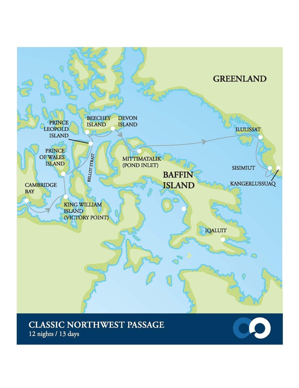 Map for Northwest Passage & Greenland Adventure