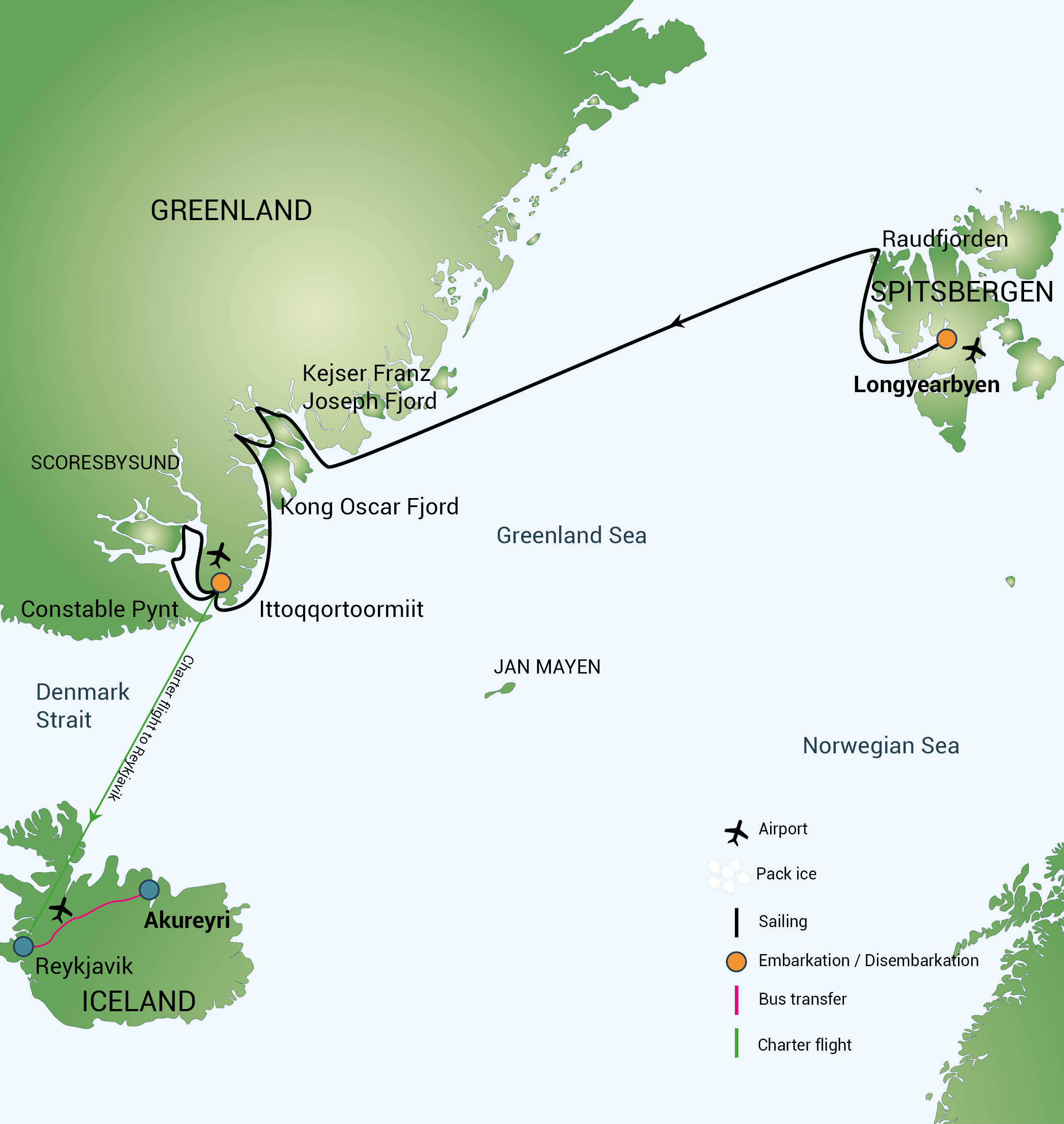 Map for Northeast Greenland Cruise (Rembrandt van Rijn)