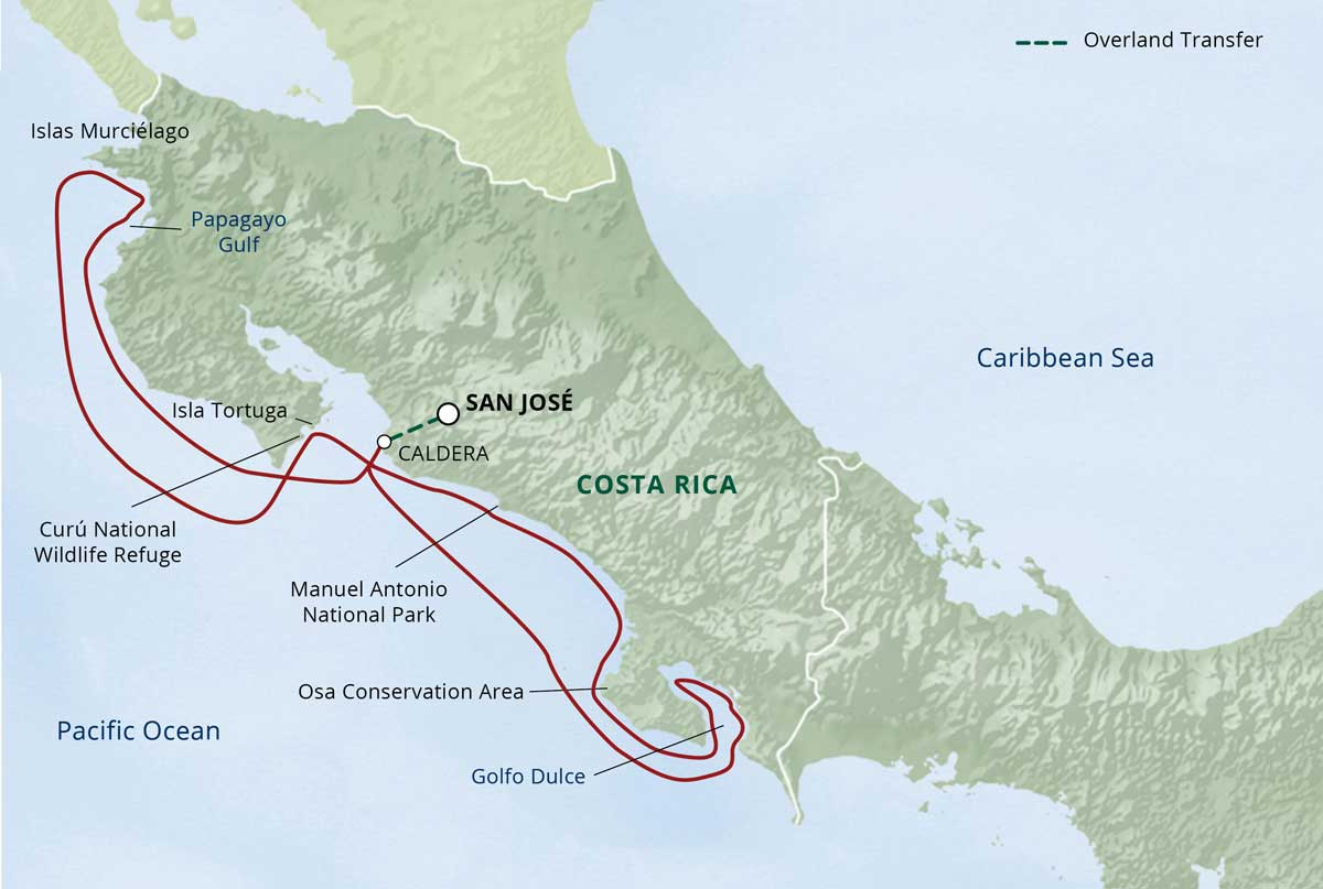 Map for Costa Rica Beaches & Jungles