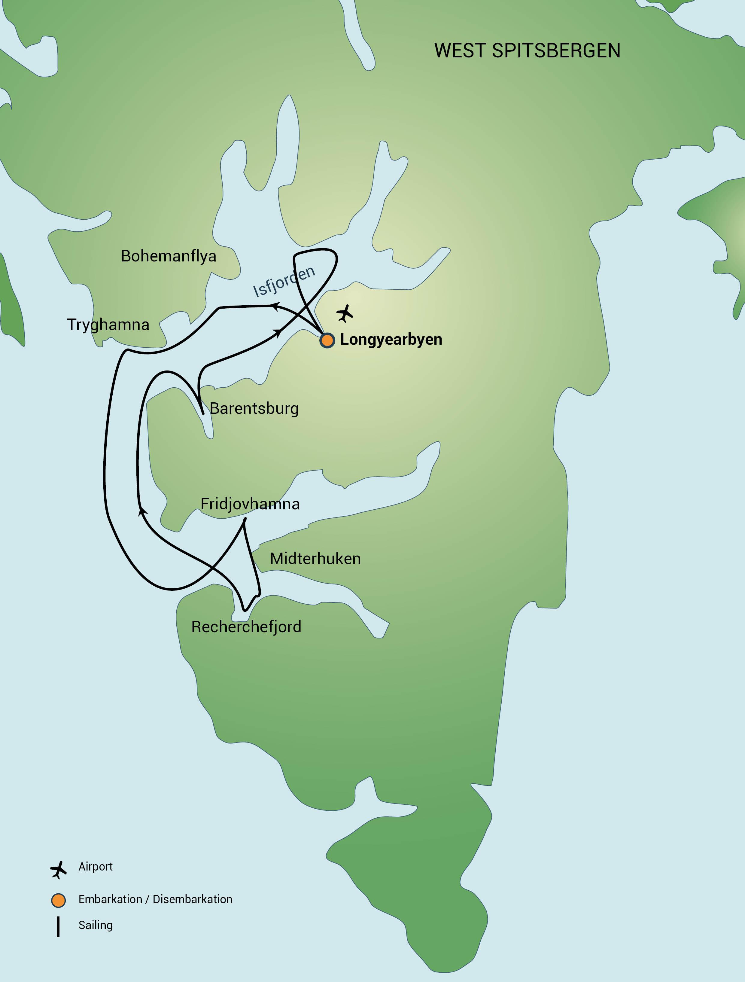 Map for Central Spitsbergen Adventure (Noorderlicht)