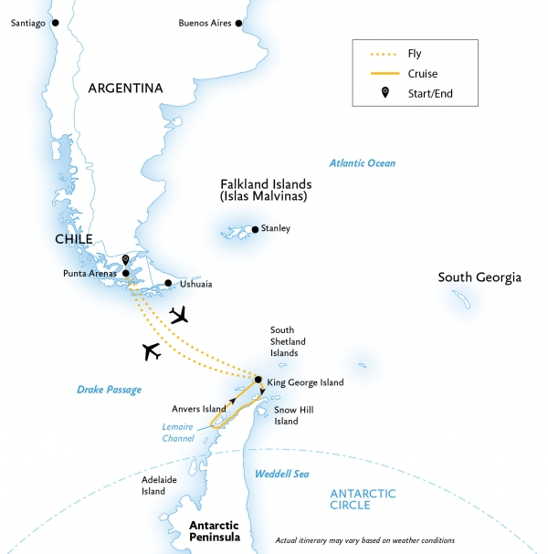 Map for Antarctic Express: Fly the Drake