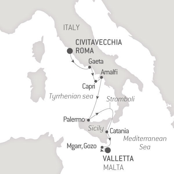 Map for From the Amalfi Coast to Malta