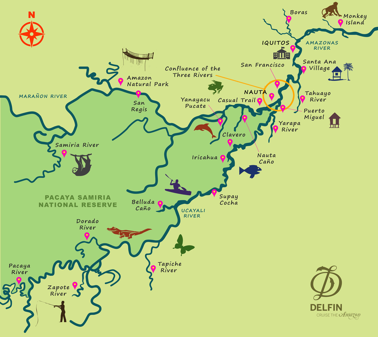 Map for Amazon River Cruise (4 days - Mondays)