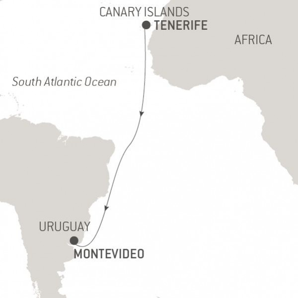 Map for Ocean Voyage: Tenerife-Montevideo
