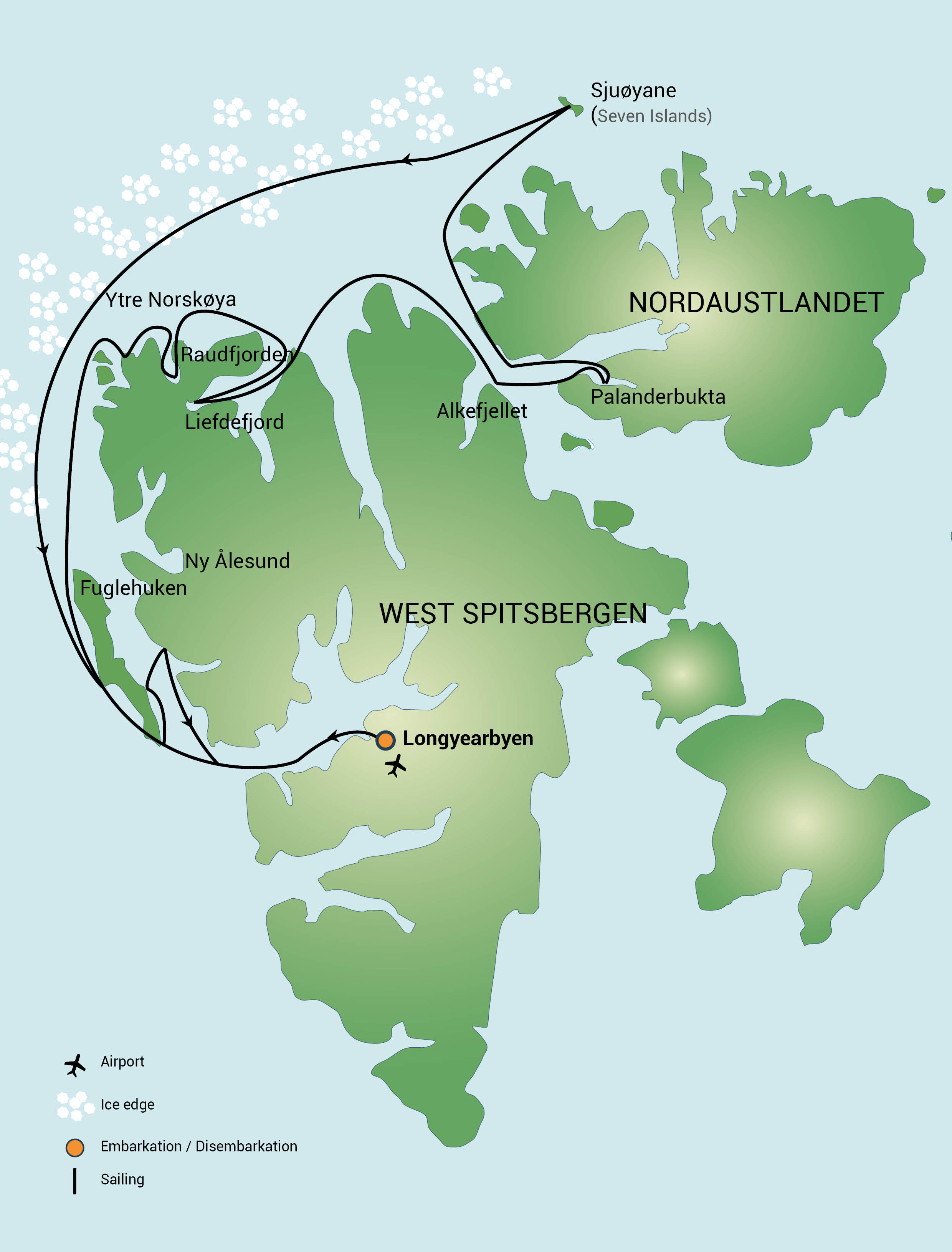 Map for North Spitsbergen - Polar Bear Special (Plancius)