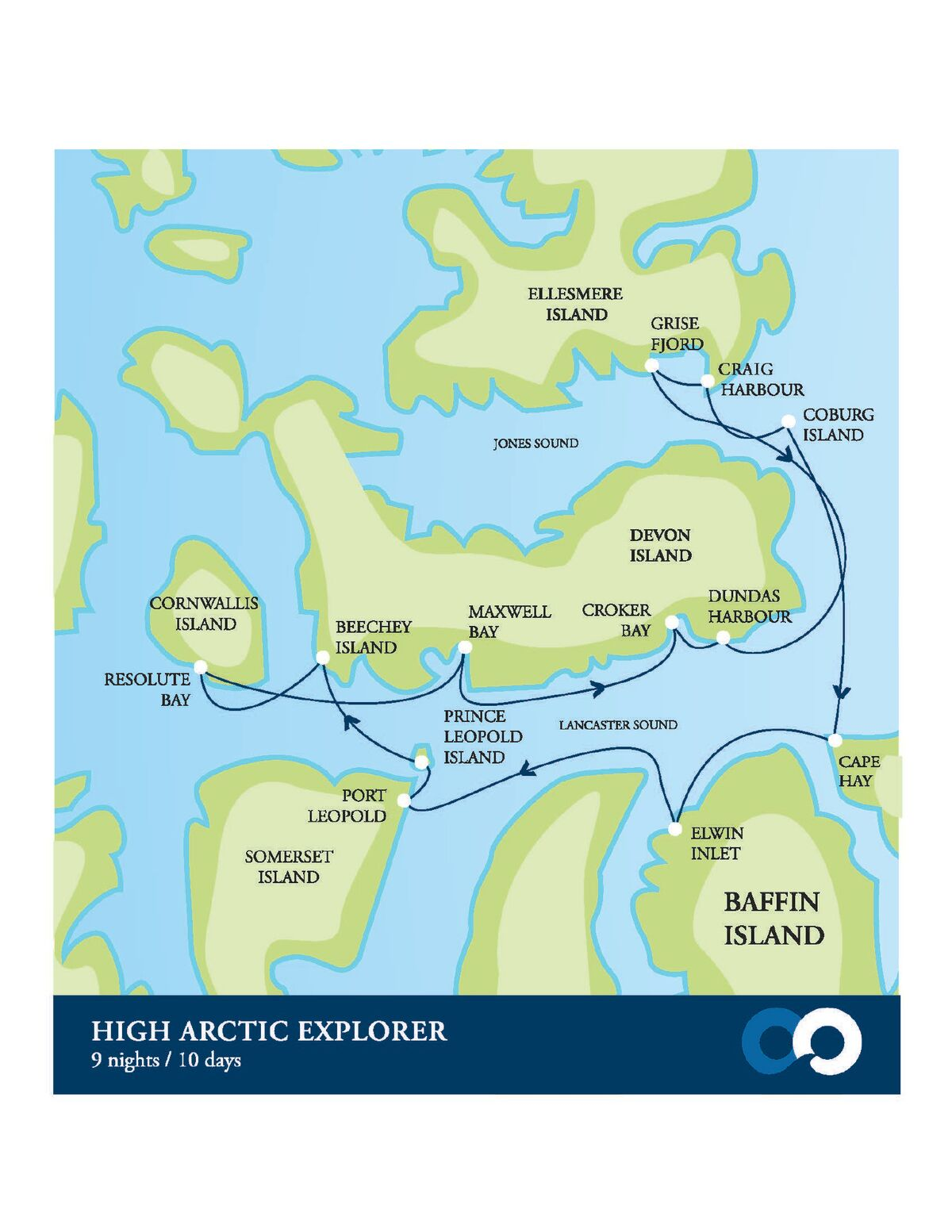 Map for High Arctic Explorer (Akademik Ioffe)