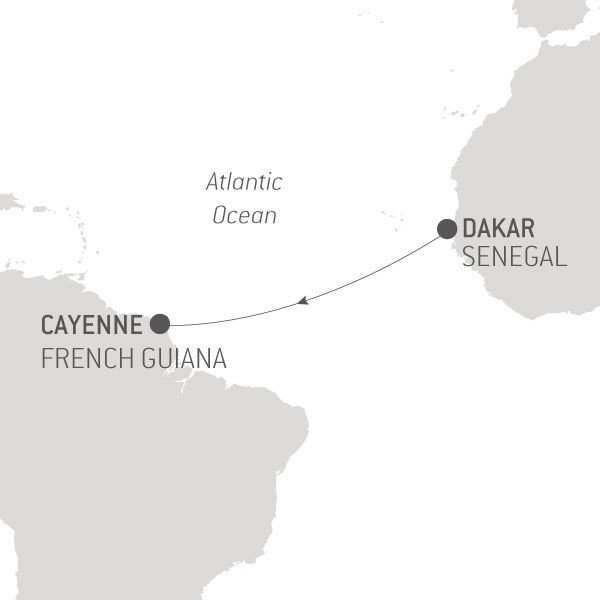 Map for Ocean Voyage: Dakar - Cayenne