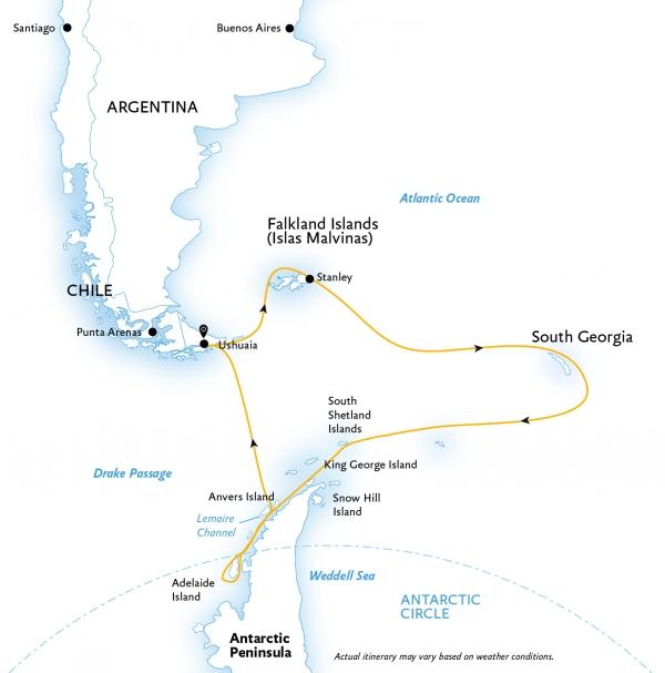 Map for Epic Antarctica: Antarctic Circle & South Georgia