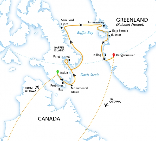 Map for Canada to Greenland: Baffin Bay Explorer