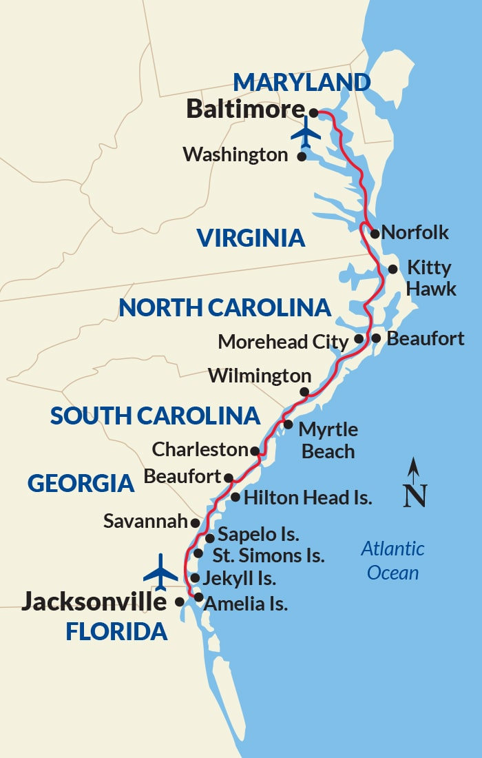 Map for East Coast Inland Passage Cruise
