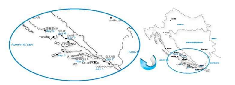 Map for Dalmatian Islands Cruise (Agape Rose)
