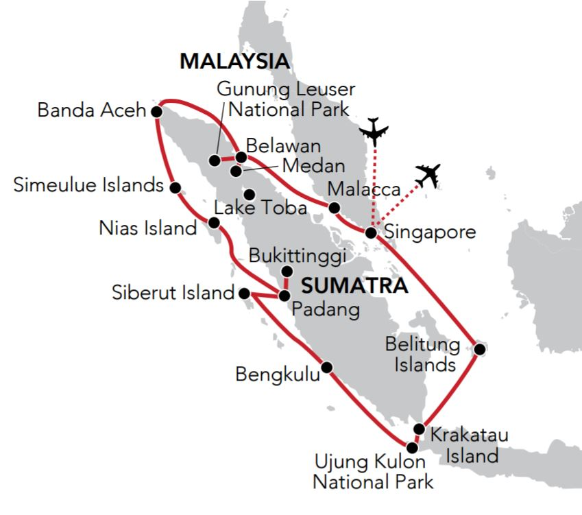 Map for Circumnavigation of Sumatra