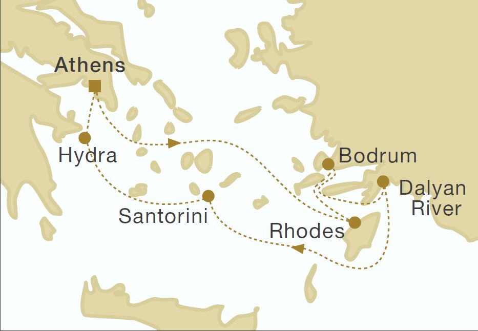 Map for Southern Cyclades Cruise
