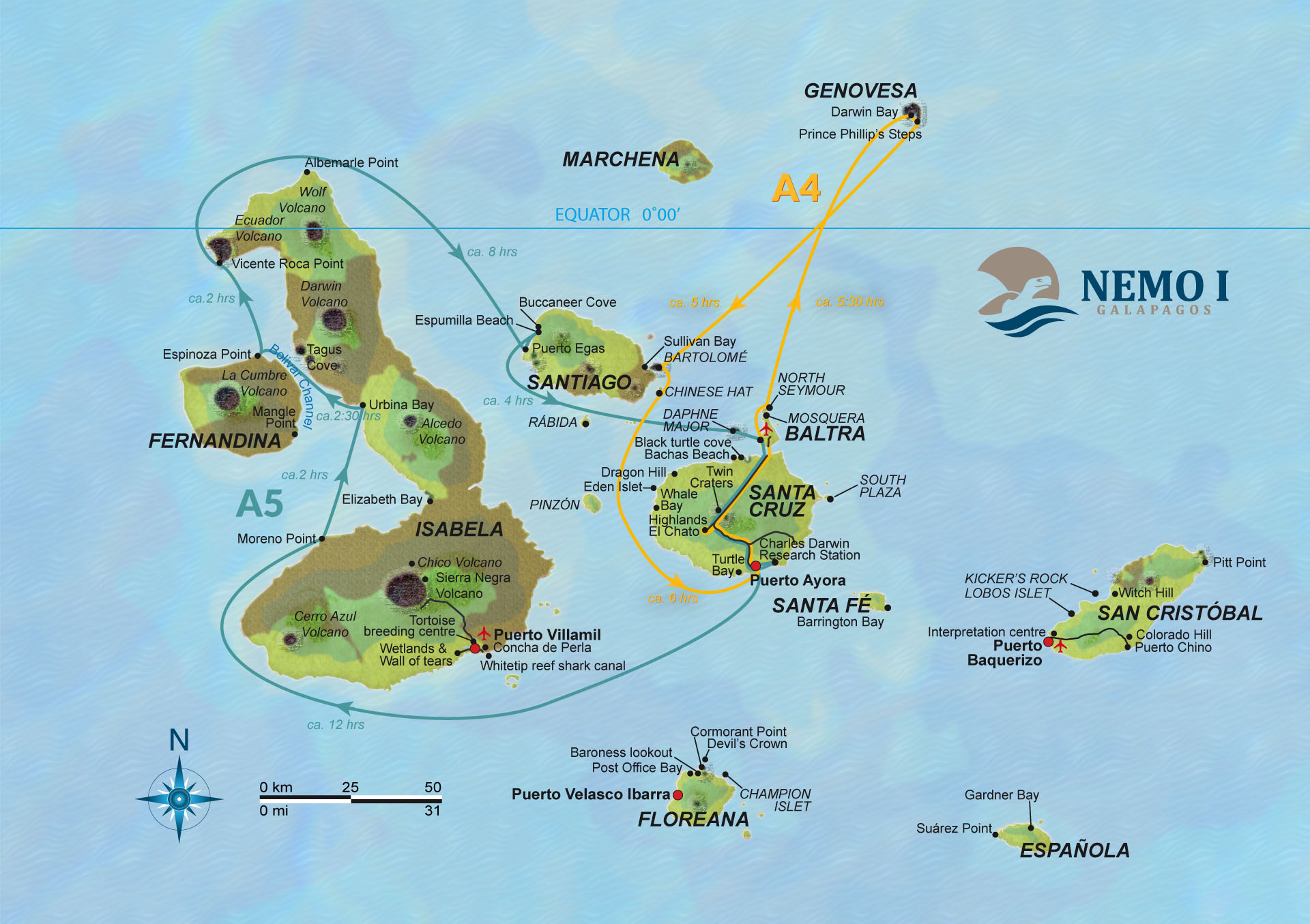 Map for Galapagos 8 Day Cruise Itinerary A (Nemo I)
