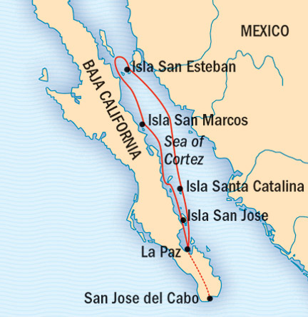Map for Whales & Wildness: Spring in the Sea of Cortez