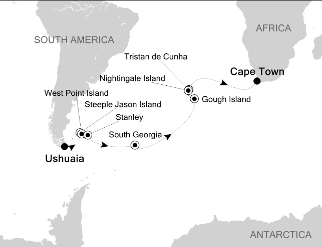 Map for From Ushuaia to Cape Town