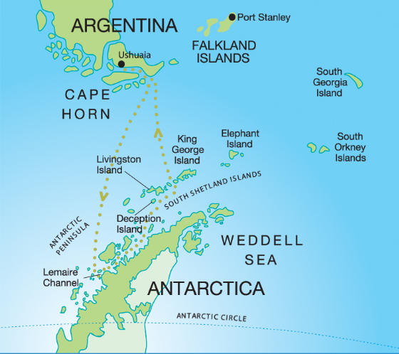 Map for Antarctic Peninsula Adventure